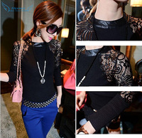 Superb! 1PC Women Crewneck Long Sleeve Knitwear Sexy Lace Party Club Wear Top T-shirt Free Shipping&Wholesale Alipower
