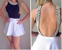 Women Summer Dress 2014 Vestido De Festa Beaded Backless Sexy Dress 2PIEC Casual Bandage Dress Prom Gowns Party Dresses GY2396