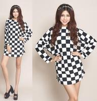 2014 New Fashion Autumn Winter Women's Casual Plaid Dresses Batwing Sleeve Women Vintage Sweater Dresses Plus Size XXL XXXL 4XL