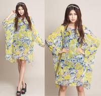 2014 New Fashion Women Summer Autumn Dress Plus Size 4XL 5XL 6XL Batwing Sleeve Chiffon Dresses Women's Bohemian Vintage Dress