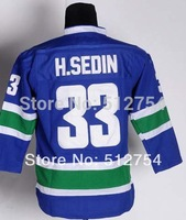 #33 Henrik Sedin Jersey,Kids/Youth Ice Hockey Jersey,Best quality,Embroidery logo,Authentic Jersey,Size S--XL,Can Mix Order,chea