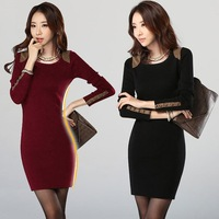 Winter Autumn Dress 2014 New Vestido O Neck Full Sleeve Cotton Pensil Dress Party Dresses Women Vestidos Casual Free Shipping