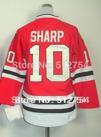#10 Patrick Sharp Jersey,Kids/Youth Ice Hockey Jersey,Best quality,Embroidery logo,Authentic Jersey,Size S--XL,Can Mix Order,che