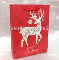 Free shipping 40pcs/lot 24*18*8.5cm chrismas tree gift paper bag,fashion paper packaging bag