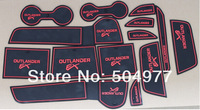 Non- slip Interior door pad/red cup mat door gate slot mat for Outlander 2013-2014 ,14pcs/lot,free shipping,