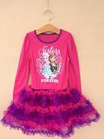 Retail 2014 New Frozen Spring Autumn Dress Children's clothing Lovely Long sleeve Anna&Elisa 2-8 age Tutu dresses  D013