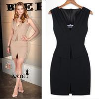 2014 New European Style Fashion V Neck Sleeveless Tailored front slit party Office Lady Slim OL dress Women work dresses