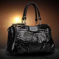 New 2014 women Handbag Patent Leather Handbag Crocodile Women Messenger Bags Brand Design Evening Bag Luxury Shoulder Bag Bolsas