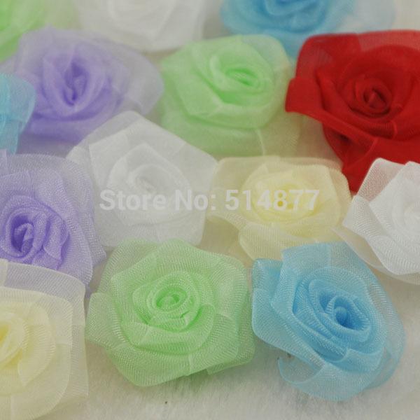 Upick 30 pcs Organza Flowers Rose Appliques Crafts Wedding Sewing Decorations A070(China (Mainland))