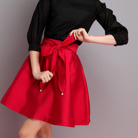Real Shows Women Summer Spring Fashion Brief Solid Color Bow Short Tutu Puff Skirts Ball Gown S M L XL SDZ012