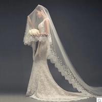 Sparkly Crystal Women's Wedding Veil White/ivory Wedding Prom Bridal Veil Single-Layer Lace Applique Edge