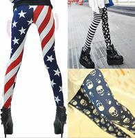 Free shipping 2014 new spring women fashion leggings women stars and striped ninth pants