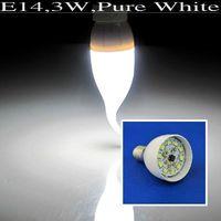 10pcs/lot Pure White E14 3W 10 SMD 2835 LED Candle Light Energy Saving Bulb Lamp LEDQP046