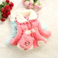 2014 Baby Girls Winter Coat Turn-down Collar Long Sleeve Casual Fur Style Children Fur Warm Coat Dropshipping K4166