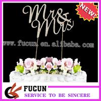 Sparkling Diamante Cake Pick Topper Wedding Civil Partnership Ceremony Mr &  Mrs,gold plated,Free Shipping