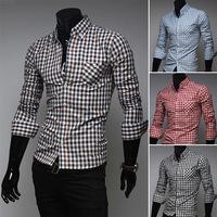New 2014 Fall Winter Men Shirts Fashion Casual Wild Plaid Men lapel Shirt Free Shipping Promotions