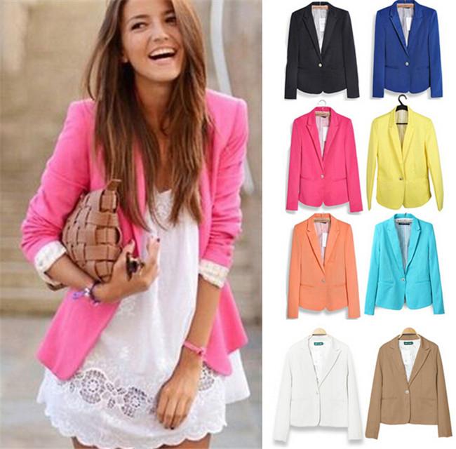 OL Work Wear Blazer Women Feminino Refresh New 2014 Candy Color Jackets Suit One Button Blazers Blaser Fashion Drop Ship(China (Mainland))