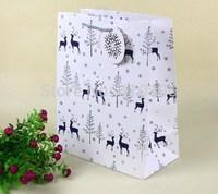 High Quality Free shipping 30pcs/lot 26*14*33cm HOT STAMPING Christmas Reindeer large gift bag paper,fashion shopping bag