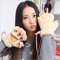 Small catlike half finger gloves half finger plush bear paw mitts cute girls hair thicker gloves