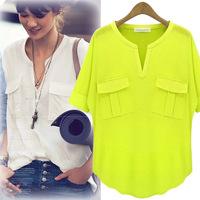 2014 summer new women's European&American V-neck short-sleeved T-shirt/Tops modal cotton shirt loose chiffon bottoming shirt