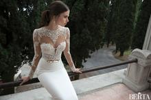 2014 nuevas ofertas de pez de belleza sexy de lujo es blanco de encaje vestido de novia vestido de novia(China (Mainland))