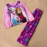 Wholesale 2014 Frozen Elsa&Anna&Olaf Pajama Set Princess Clothing Sets 2-8 Age Kids Clothing Snow Queen ChildrenPyjamas S020