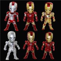 6pcs/Set The Avengers Iron Man 3 MK42 LED Flash PVC Action Figures Collection Model Toys Dolls Mobile Phone Car Ornaments Gift