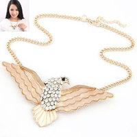 fashion Boutique temperament CZ Diamond crystal gem diamante owl collar individuality metal women Necklace & pendant 014030864