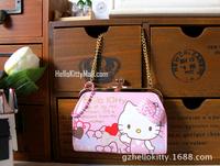 New Arrival Cute Cartoon Hello Kitty Wallet Women/Girls Metal Chain Purse Coin Bag Small Wallet