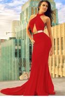 Women Autumn Winter Cardigans Red Cutout Mermaid Dress with Gold Belt LC6599 Evening Wedding Office sweatshirt