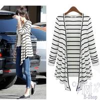 2014 Autumn Women's Navy Style Crochet Knit Blouse Long-sleeve Black White Stripe Cardigan Sweater Casual Thin Coat Outwear