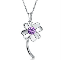 New 2014 Free Shipping Christmas Womens Necklace Various color Woman Necklace Platinum plated Clover crystal pendant Necklaces
