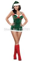 2014 New Fashion Women 2PCS Santa Girl Costumes Sexy Adult Christmas Costumes