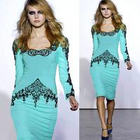 Blue Elegant Floral Print Dressses 2014 Vintage Fashion Long Sleeve Winter Autumn Dress Women Party Bandage Bodycon Dress CD1361