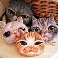 On Sale 2014 New Cute Cat Face Zipper Case Face Coin Purse Wallet Makeup Buggy Bag Pouch PY102