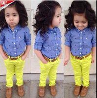 2015 Direct Selling Freeshipping New Arrive Fashion Children Girls Autumn Dot Shirt+yellow Pant 2pcs Set Cloth Kids Clothing