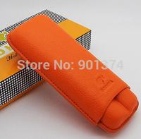 COHIBA Orange Soft Leather Cigar Case Holder 2 Tube W/ Fancy Gift Box-free shipping