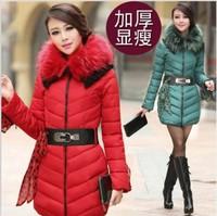 2014 New Fashion Autumn and Winter  Fur Collar Slim Wild Thick Women Cotton Coat Elegant Long Women Down jacket parka overcoat