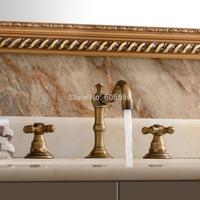 Deck Mount Contemporary Bathroom Bath Tub Faucet Two Handles Long Spout Antique Brass Bathroom Sink and Bathtub Mixer Taps