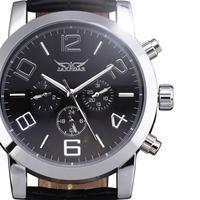 2014 new fashion calendar men genuine leather winner clock stylish classic retro luxury mechanical self wind wrist dress watch