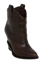 crocodile grain Leather women ankle boots increased pointed toe brand riding boots