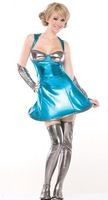 2014 New summer  arrival party sexy bodycon   Cosplay OL Blue Final fantasy emale  hot performing uniform club mini Costumes