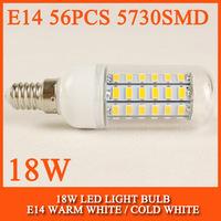 150PCS Ultra bright new SMD 5730 18W E14 LED 220V 230V 240V corn bulb lamp, 56LEDs, Warm white / Cold white 5730SMD led lighting