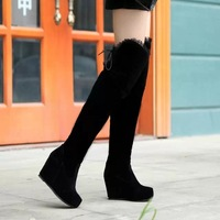 New 2014 spring boots woman Boots for women Sexy Inside Heel Stretched Faux Suede Over Knee Length High Boots Winter Eur2422