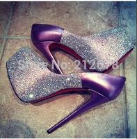 2014 latest purple crystal wedding pumps 16cm Ultra high platfrom high heel shoes