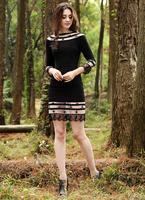 Fashion Europe style Vintage Slimming Women Knee-length 3/4 sleeve Black Mesh Lace Dress Plus Size S XL