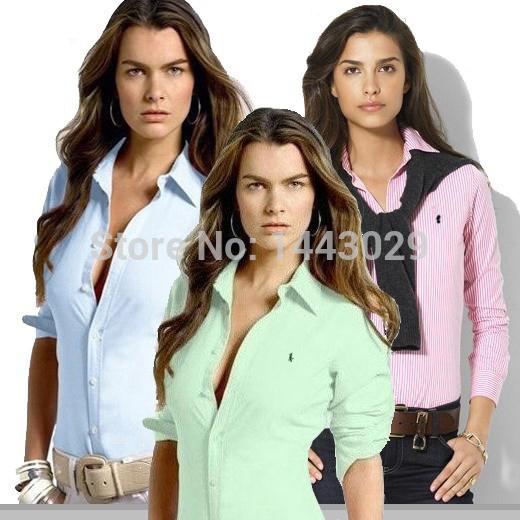Best Quality!!! 2014 New Cotton Women's Polo Formal Shirts Long Sleeve Fashion Shirt Suit Women Slim Shirts Multiple Colors cs01(China (Mainland))