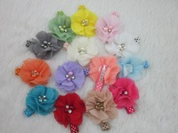 14colors chiffon hair flower with 4.5cm lined alligator hair clips, girls hair clips, hair accessories 56pcs/lot free shipping