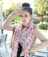 Fashion chiffon scarves shawl iron pastoral letter sweet pink plaid scarf ride 50 * 160CM