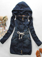 Hot Sale New 2014 Women Winter And Autumn Md-Long Thick warm Slim Full Sleeve Hooded Cowboy Cotton- Padded Casual Coat LJ312
